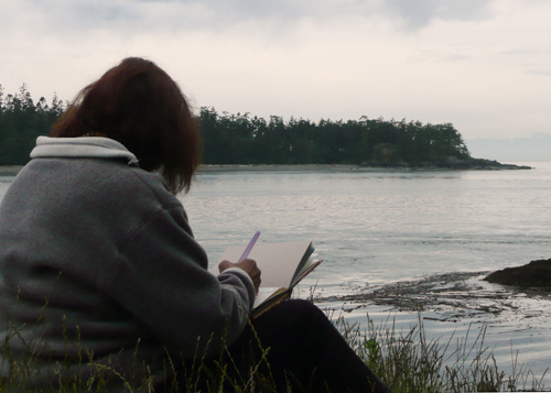 Sketching at Lighthouse Point, Deception Pass State Park