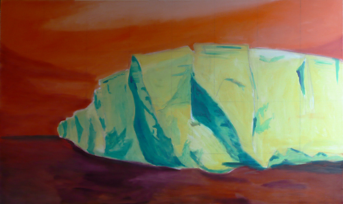 """Underpainting for the """"Big Berg"""" on a 60"""" x 36"""" canvas"""