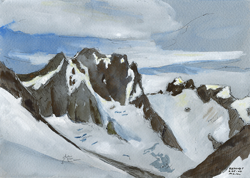 "Mt. Redoubt, 8"" x 6"" ink, watercolor, and gouache field sketch"