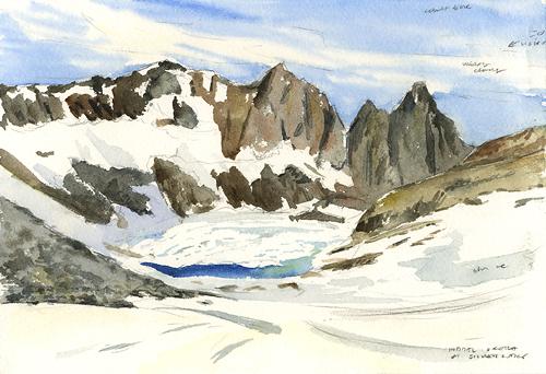 "Silver Lake, 8"" x 6"" field watercolor"