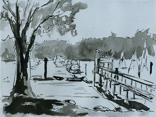 "From the Bainbridge Island Yacht Club, 8"" x 6"", ink on paper"