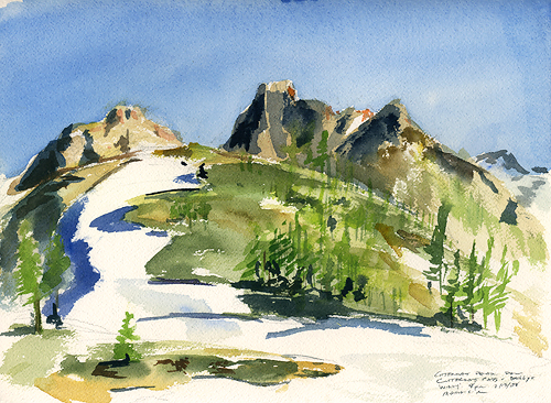 Cutthroat Ridge Sketch- the wind was blowing and the mosquitoes were vicious!