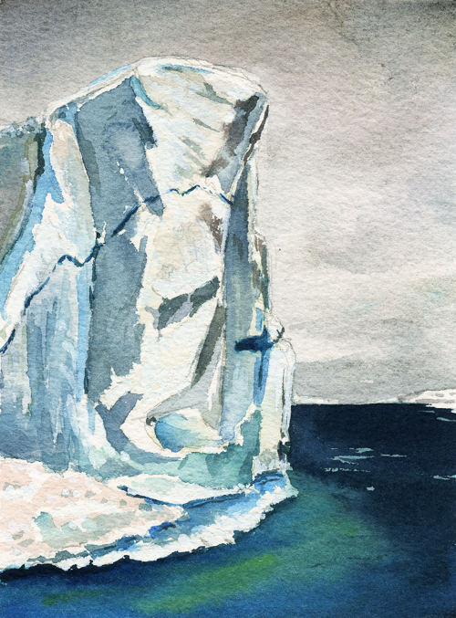 "Painting of the day: Neko Harbor, Antarctica, 5"" x 7"" watercolor"