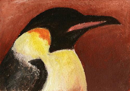 """Emperor Penguin, 7"""" x 5"""" mixed media"""