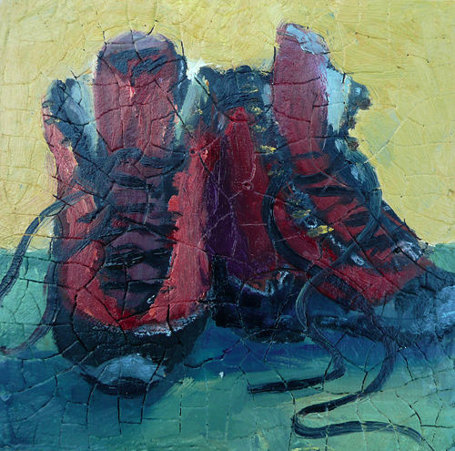 """Boots, 5"""" x 5"""" oil on panel"""