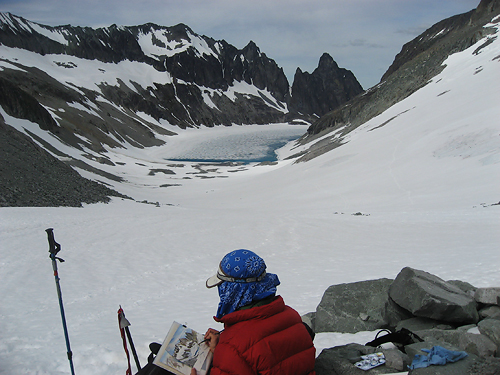 Artist at Work, Silver Glacier, June 25, 2008 (photo credit: Steve Dorsch)