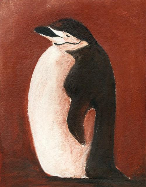 """Chinny-chin-chin-strap penguin, 8"""" x 10"""" mixed media"""