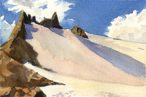 """Portals, Mt. Baker, 6"""" x 4"""" watercolor study"""