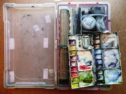 """14"""" x 8.5"""" tackle box art kit that carries all of my goodies"""