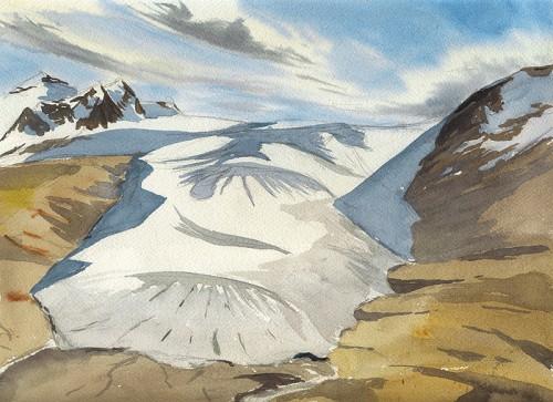 "Castle Glacier, view from Lightning Knob, 12"" x 9"""