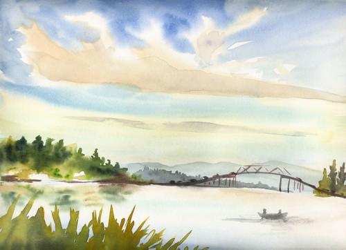 Across the Lake #2, I like the expressive lines of the bridge.