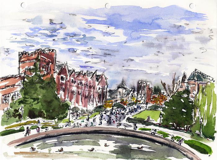 """University of Washington From Frosh Pond, Nov 19, 2008, 11"""" x 8.5"""""""