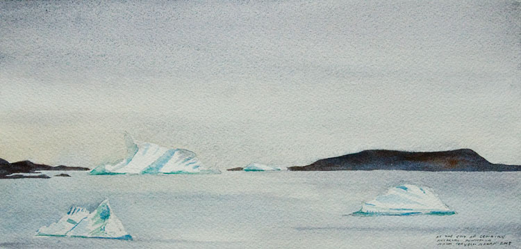 "Leaving Lemaire (Antarctic Peninsula), 10.5"" x 4.75"" field watercolor, 17 February 2008"