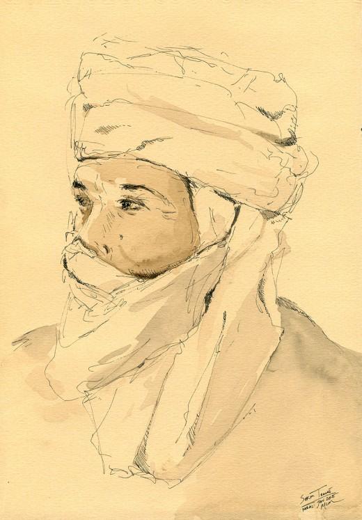 """Sekou, 6.5"""" x 9.5"""", Ink (field sketch from Mali, West Africa, 2005)"""