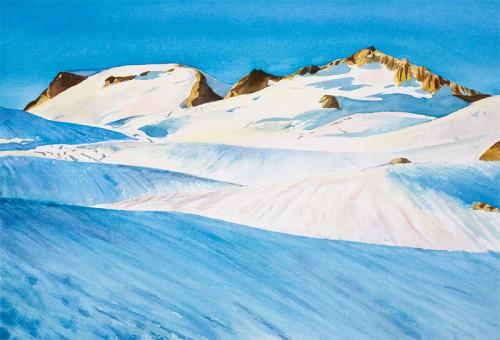 """""""Easton Glacier"""" Watercolor, 18.5"""" x 12.75"""" Spring 2008"""