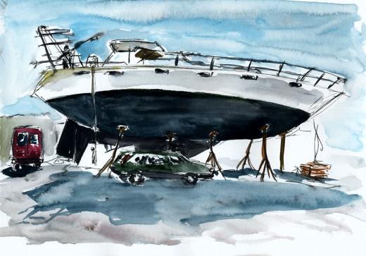 """Ocean Watch, 11"""" x 8"""" ink & watercolor sketch"""