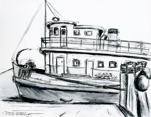 """Tugboat, 7"""" x 5.5"""", ink sketch"""