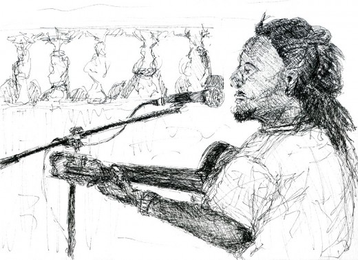 Habib Koité rehearsing at home, ink sketch, 2002