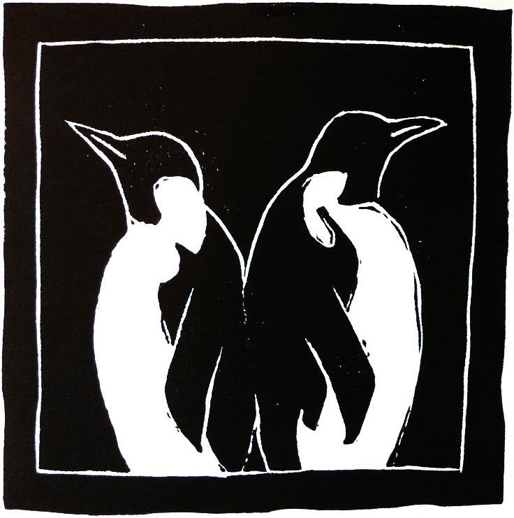 Emperor penguins 4 x 4 linoleum print