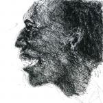 Madou Koné, tamani player extraordinaire. Ink sketch, 2002