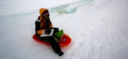 Painting in Antarctica (photo credit: Akos Hivokovics)
