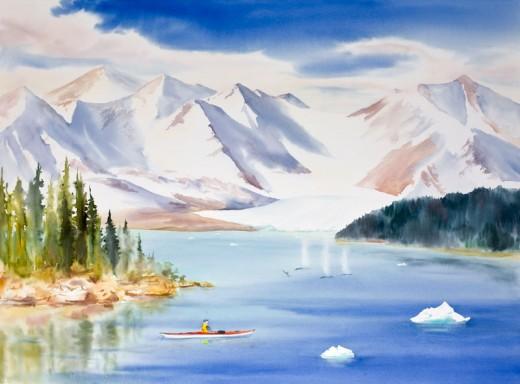 "Kayaking Alaska, 44"" x 32"" Watercolor Commission"