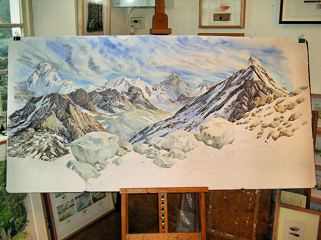 Unfinished Painting 6' x 3' : Everest from a high point above Gokyo (17,500') (© 2005 Tony Foster)