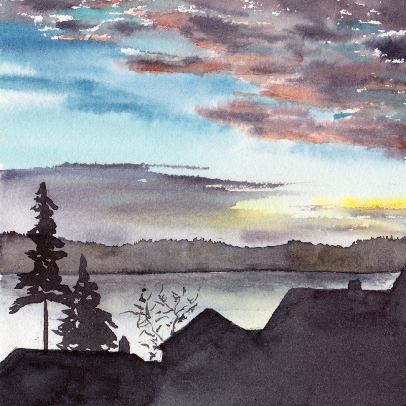 "5"" x 5"" number 8: sunrise over Lake Washington"