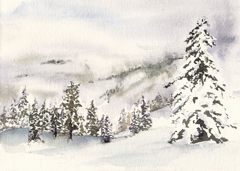 """View from Cougar Mountain, 7"""" x 5"""" field sketch"""