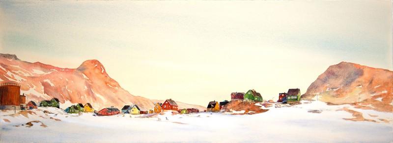 "Niaqornat Sunrise, 11"" x 30"" watercolor and gouache"