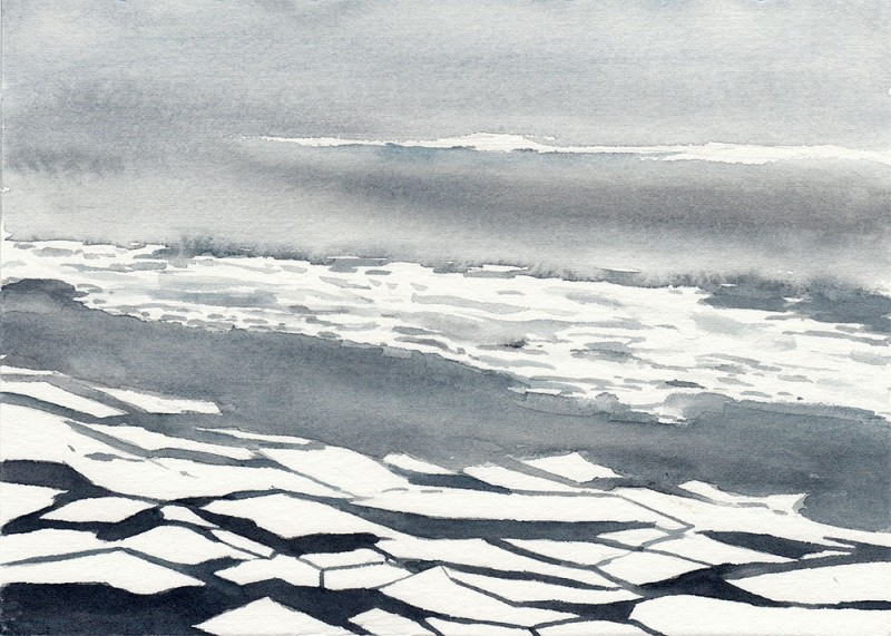 "Ice west of Niaqornat, 5"" x 7"" field sketch"