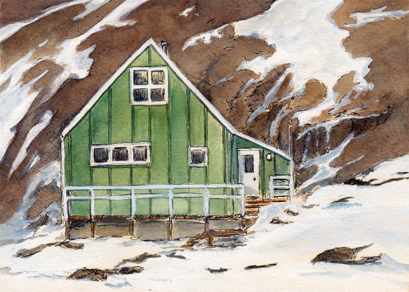 "Green house, Niaqornat 5"" x 7"" field sketch"