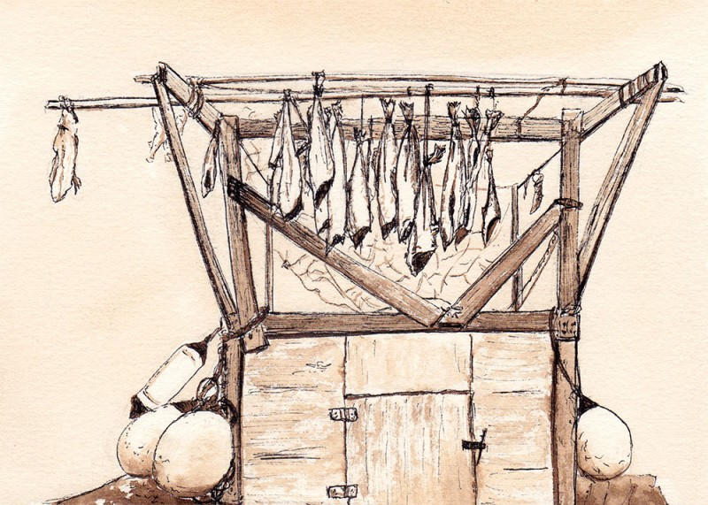 "Drying fish, 5"" x 7"" field sketch"