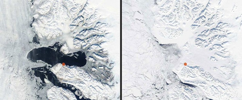Niaqornat is marked, left image, March 21st, 2013, right image March 20, 2012, Modis Satellite Images from dmi.dk.