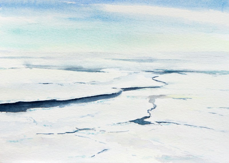 "Ice Leads from the Helicopter, 7"" x 5"" field sketch"