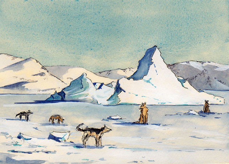 "Sled dogs on fast ice, Kullorsuaq, 5"" x 7"" field sketch, April 5, 2013"
