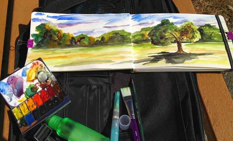 Field sketch kit in Natirar County Park, NJ. Photo credit: Charles Kearns