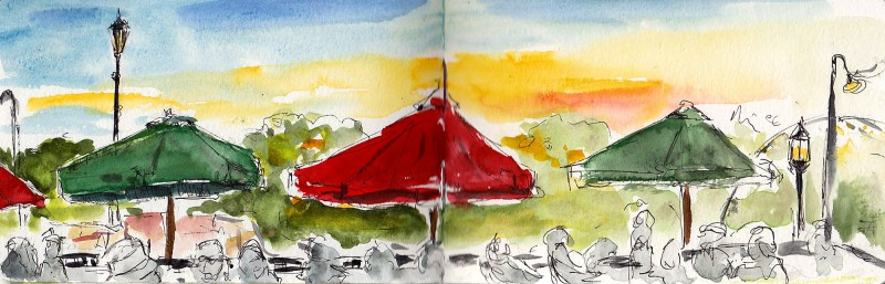 """Sunset at the Contented Cow tavern, 3.5"""" x 11"""" ink and watercolor"""