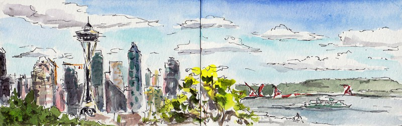 "View from Kerry Park, Queen Anne, post-pastries. 3.5"" x 11"" moleskine sketch"