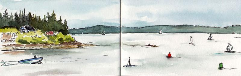 "Shilshole Bay, post-paddle. 3.5"" x 11"" moleskine sketch"