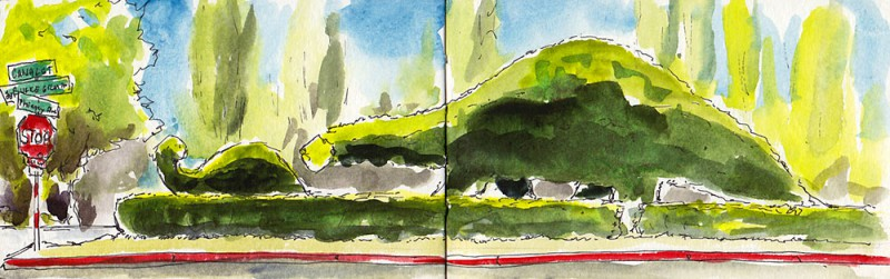 "Dino-topiaries, Fremont, post-picnic lunch. 3.5"" x 11"" moleskine sketch"