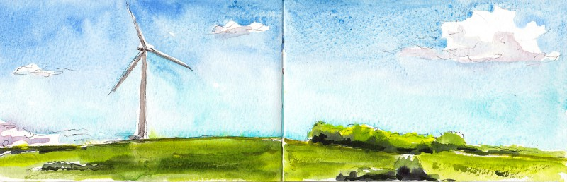 """Carleton's first wind turbine (they own two!), 3.5"""" x 11"""" ink and watercolor"""