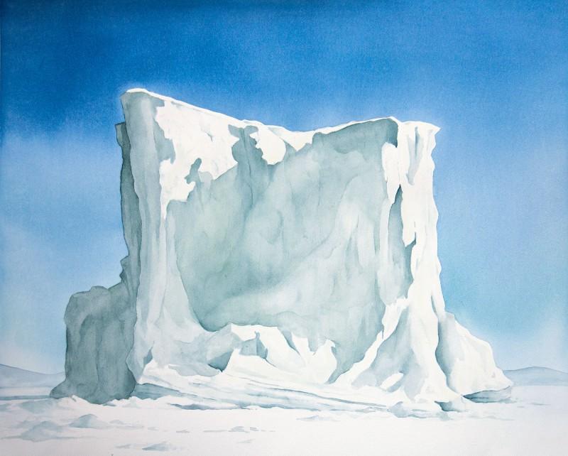 "Frozen, Kullorsuaq Berg, 18"" x 24"" watercolor"