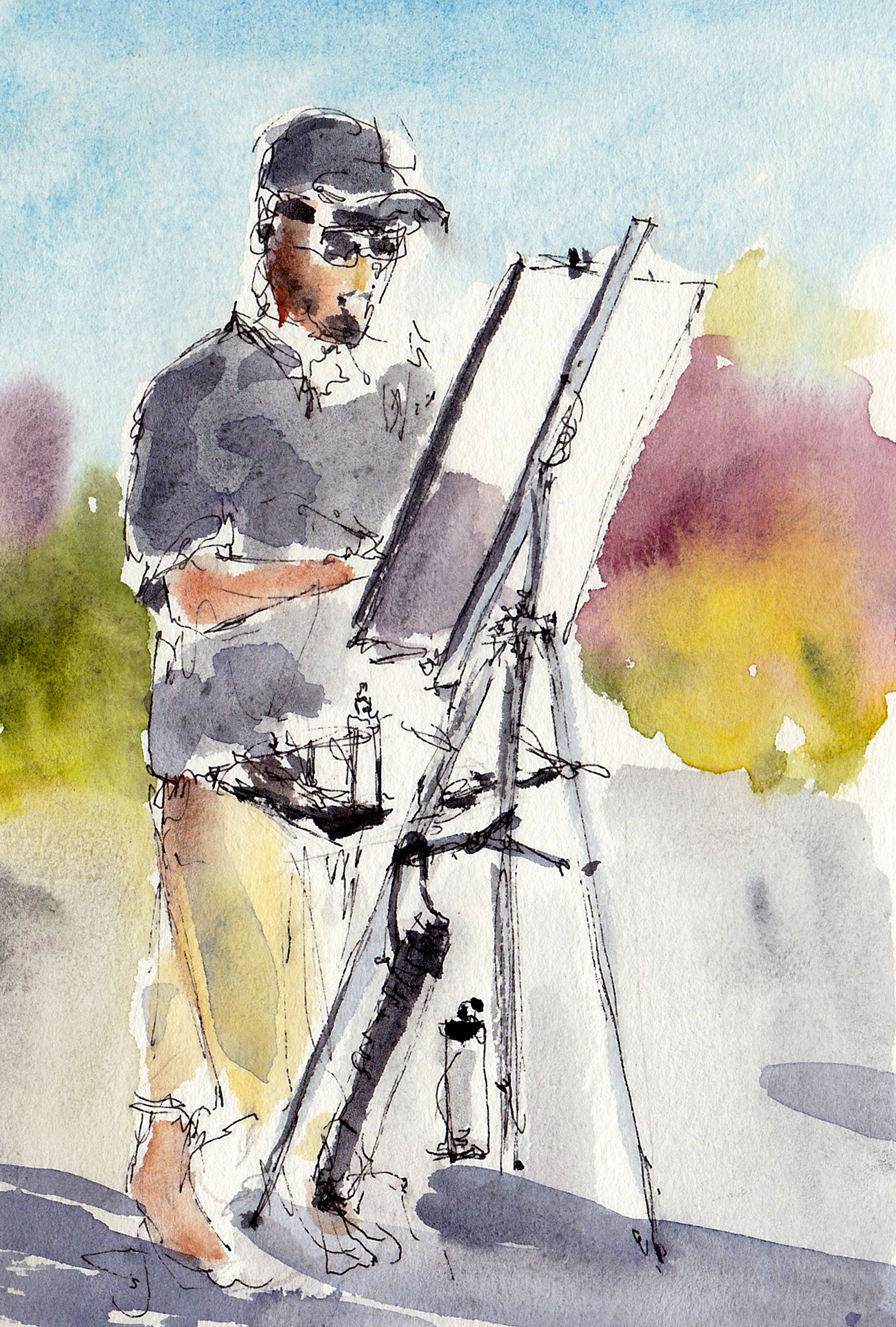 "Che Lopez plein air painting, 5"" x 7"" ink and watercolor"