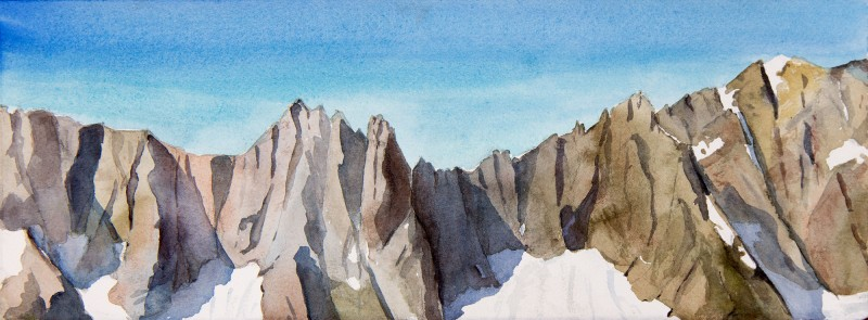 "Triplets, Cascade, and Johannesburg Peaks, 5.5"" x 15"" field watercolor"