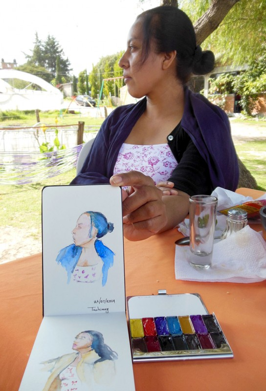 Sketching in Taxhimay, Mexico, photo by Victor Marquez