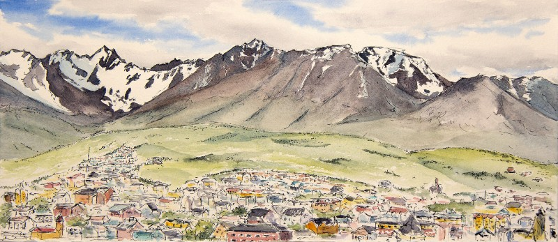 "Ushuaia, 6.5"" x 15"" field ink and watercolor"