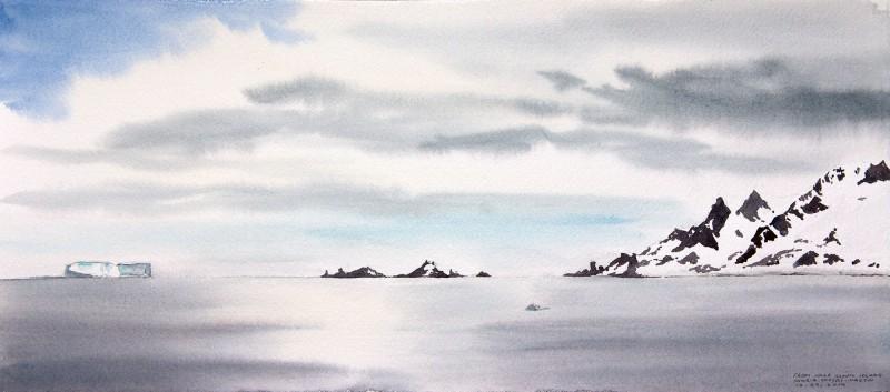 "From Half Moon Island, 6.5"" x 15"" field watercolor"