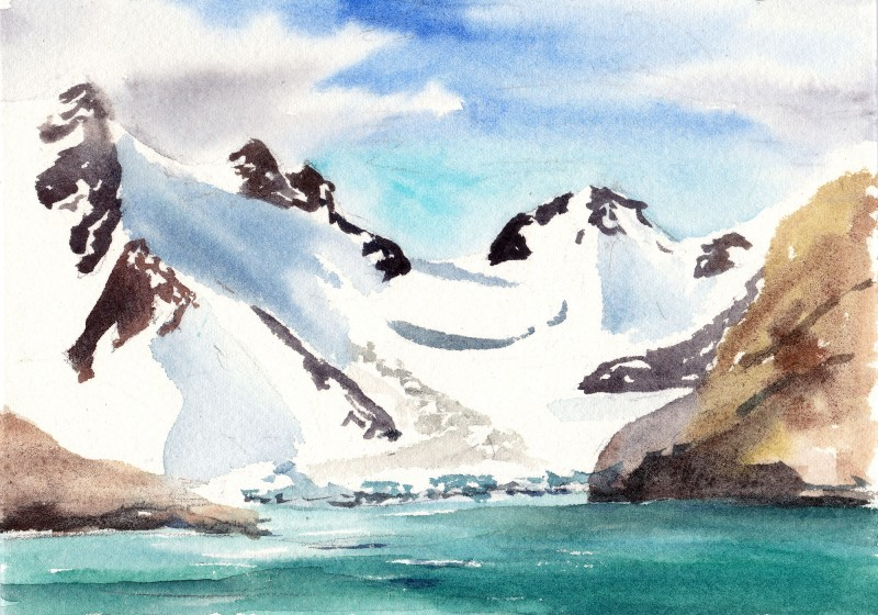 "Drygalski Fjord, South Georgia, 5"" x 7"" field watercolor sketch"