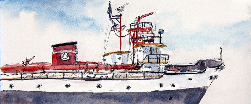 "Duwamish fire boat, 15"" x 6.5"" ink and watercolor field sketch"